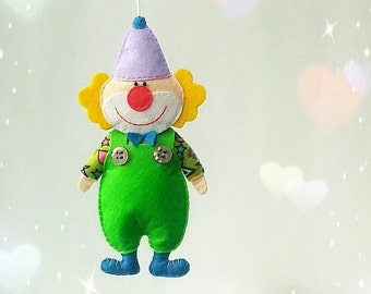 felt toy clown, ornament clown, magnet toy, Hanging  clown, plush clown, soft clown, hanging ornament, kitchen decor refrigerator