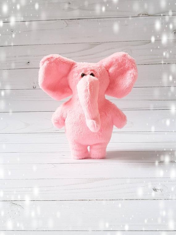 Pink Plush Elephant Stuffed Animal Toy Plush Elephant Soft Etsy