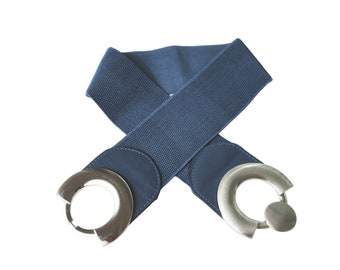 Elastic Waist Belt, Wide Navy Blue Belt, Silver Metal Buckle, Large Hook Buckle, Synthetic Leather, Ladies Stretch Belt, Girl's Women Vegan