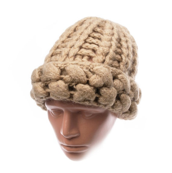 Vintage Hand Knitted Hat, Women's Wool Knit Hat, B