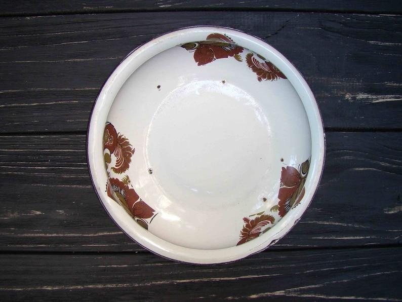 Enamel Bowl Vintage Enamelware Country Kitchen Decor Retro Home Decor Farmhouse Decor Rustic Bowl Old Bowl Soviet Shabby Chic Bowl