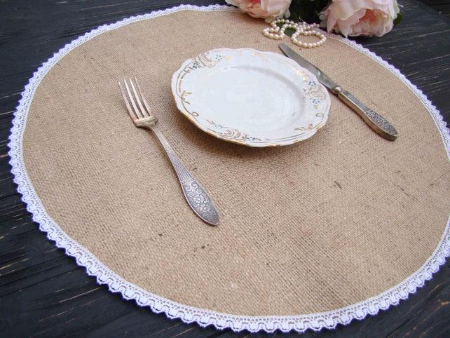 Runde Sackleinen Tischset Rund Hochzeit Herzstück Sackleinen | Etsy