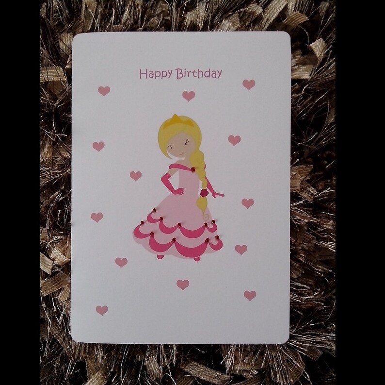 Personalised Princess Girl Birthday Card Personalized