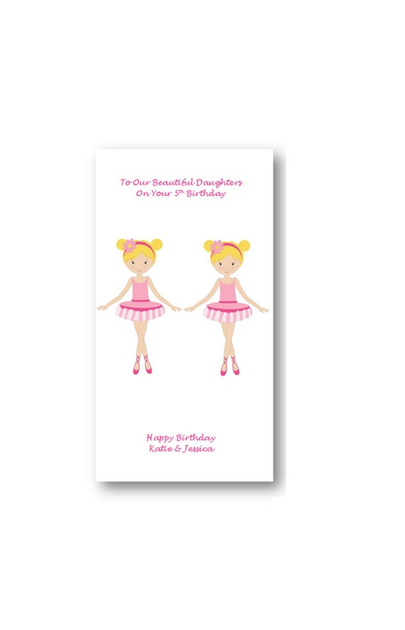 Unique Custom Personalised Twin Girls Birthday Card