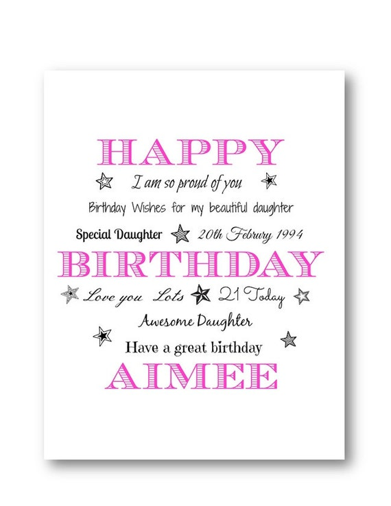 Personalised Typography Birthday Card Personalized