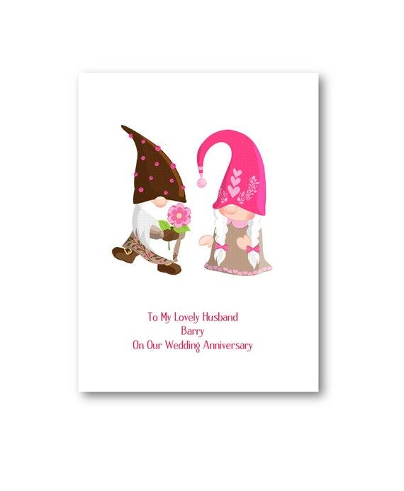Personalised Gnome Valentines Day Card Girlfriend Wife Boyfriend Husband