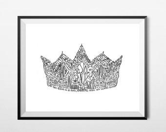 Crown Art Print, A4, 8x10, Bible Verse/Scripture, Inspirational, Typography