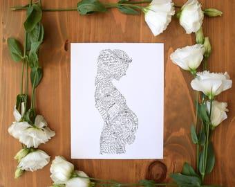 Pregnant Woman Art Print, Scripture, Birth Affirmations,