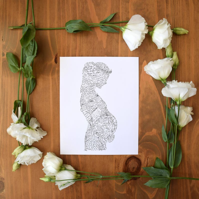 Pregnant Woman Art Print Scripture Birth Affirmations image 0