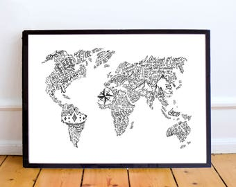 World Map, A4, 8x10, Bible Verse/Scripture, Inspirational, Typography