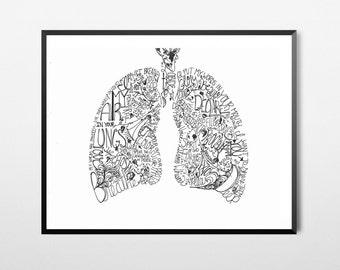 Lungs Art Print, A4, 8x10, Bible Verse/Scripture, Inspirational, Typography