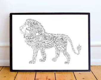 Lion Art Print, A4, 8x10, Bible Verse/Scripture, Inspirational, Typography