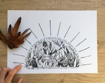 Protea Sunrise Art Print, A4, 8x10, Inspirational, Typography