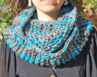 Gray Blue Cowl Infinity Scarf