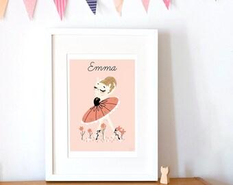 custom art print for kids  -  The Prima Ballerina