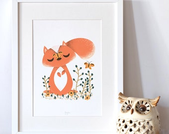 """Personalized poster for baby, birth -  """"les Animignons"""" - the Little Squirrel -  illustration for kids"""