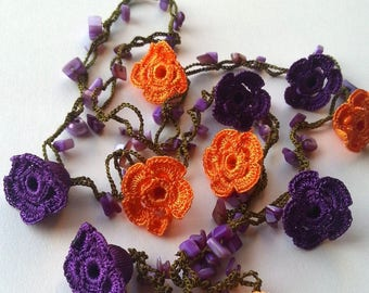 Purple, Orange Handmade - Flowered Long Necklace - Crochet Beaded Necklace w/ Natural Stone - Gifts For Her