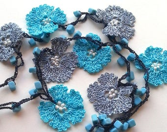Blue, Grey Handmade - Flowered Long Necklace - Crochet Beaded Necklace w/ Natural Stone - Gifts For Her
