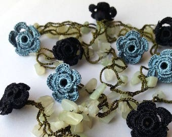Blue/Grey, Black Handmade - Flowered Long Necklace - Crochet Beaded Necklace w/ Natural Stone - Gifts For Her