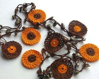 Orange, Brown Handmade - Flowered Long Necklace - Crochet Beaded Necklace w/ Natural Stone - Gifts For Her
