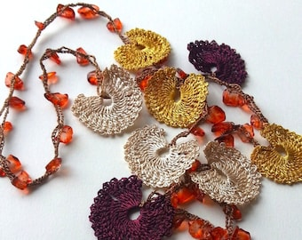 Yellow, Maroon & Beige Handmade - Flowered Long Necklace - Crochet Beaded Necklace w/ Natural Stone - Gifts For Her