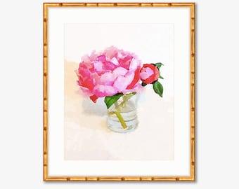 Watercolor Pink Peony -- Home Decor -- Print