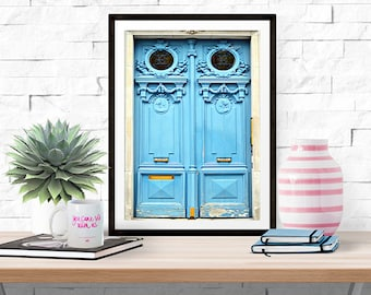 Paris Photograph -- Bright Blue Doors -- Travel Photography -- 8 X 10 Inch Print