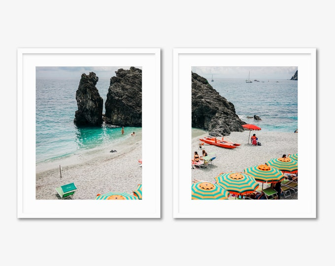 Italian Summer Diptych -- Beach Umbrellas -- Cinque Terre -- Travel Photography -- Home Decor
