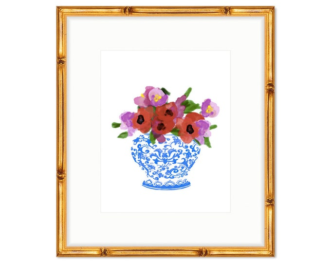 Floral Bouquet no. 1 -- Chinoiserie Print -- Watercolor Print -- Home Decor