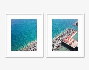 Sorrento Diptych -- Beach Umbrellas -- Amalfi Coast -- Aerial Photography -- Home Decor