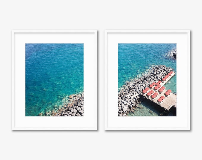 Sorrento Diptych -- Beach Umbrellas -- Amalfi Coast -- Aerial Photography -- Home Decor