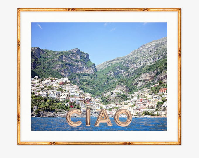 Featured listing image: Ciao Positano Photograph -- Positano Beach Italy -- Travel Photography -- 8 X 10 Inch Print