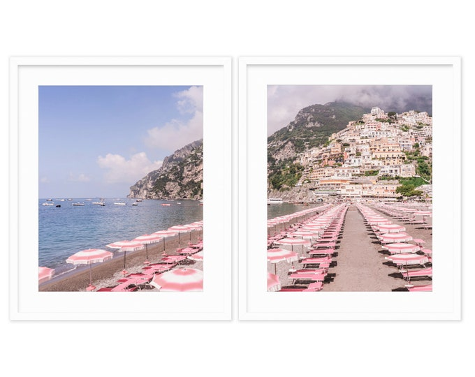 Positano Diptych -- Pink Beach Umbrellas -- Amalfi Coast -- Travel Photography -- Home Decor