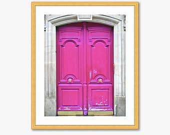 Paris Photograph -- Pink Doors -- Travel Photography -- 8 X 10 Inch Print
