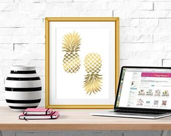 "Gold Pineapple Print -- Home Decor -- 8 X 10"""