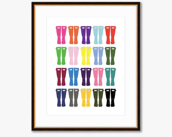 Rainbow Wellies -- Home Decor -- Illustrated Fashion Print -- 8 X 10""