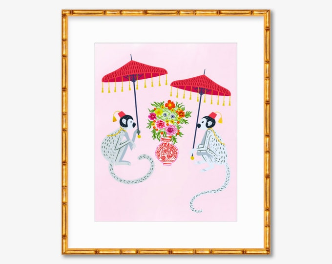 Chinoiserie Monkeys -- Art Print -- Home Decor