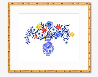 Botanical Chinoiserie -- Art Print -- Home Decor