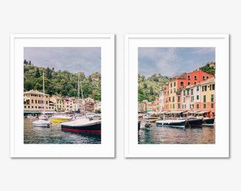 Portofino Diptych -- Cinque Terre -- Travel Photography -- Home Decor