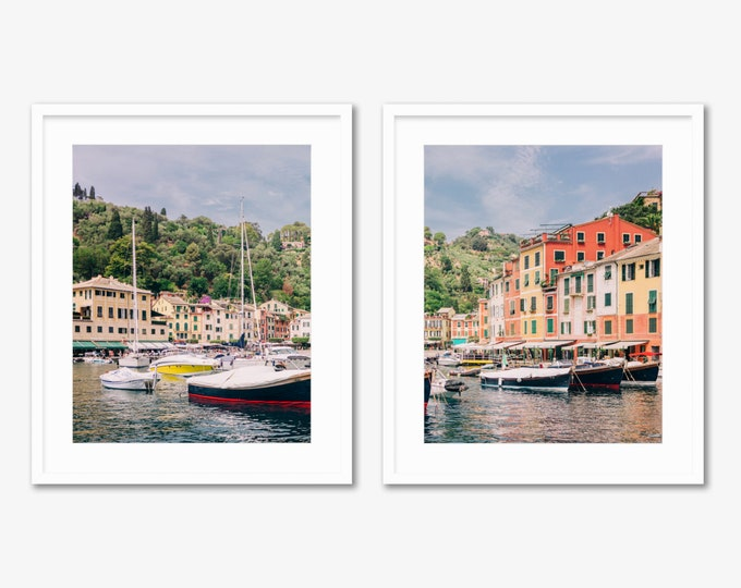 Portofino Diptych -- Cinque Terre -- Travel Photography -- Home Decor
