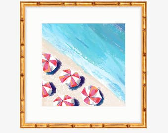 Pink Striped Beach Umbrellas -- Oil Painting Print -- Home Decor