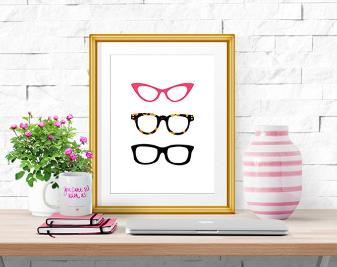 Glasses -- Illustrated Print -- 8 X 10""
