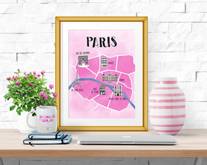 Paris -- Illustrated Map -- Home Decor -- Print
