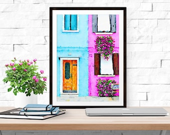 Pink and Blue Burano (Italy) -- Watercolor Print -- Home Decor
