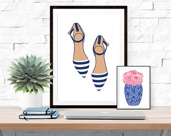Navy Striped Flats -- Prep Avenue Print Collection -- Fashion Illustration -- Home Decor