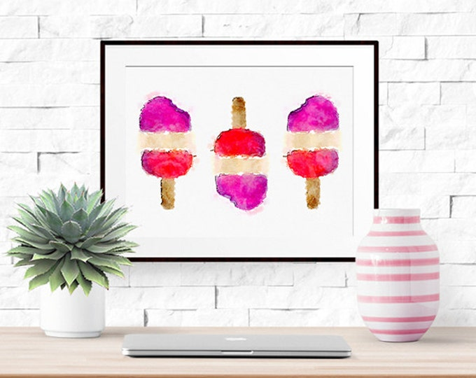 Stay Cool -- Watercolor Popsicle Print -- Home Decor