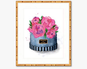 Hat Box Peonies -- Maison des Fleurs -- Watercolor Print -- Home Decor