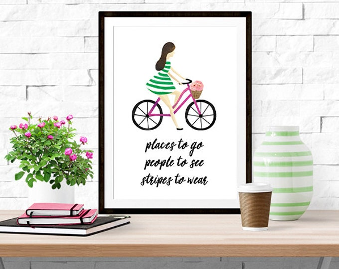 Stripes to Wear -- Watercolor Quote Print -- Home Decor
