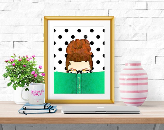 Bella Bookworm -- Watercolor Print -- Home Decor -- Read Colorfully