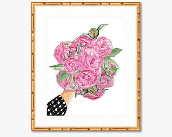 Count Your Peonies -- Watercolor Print -- Home Decor